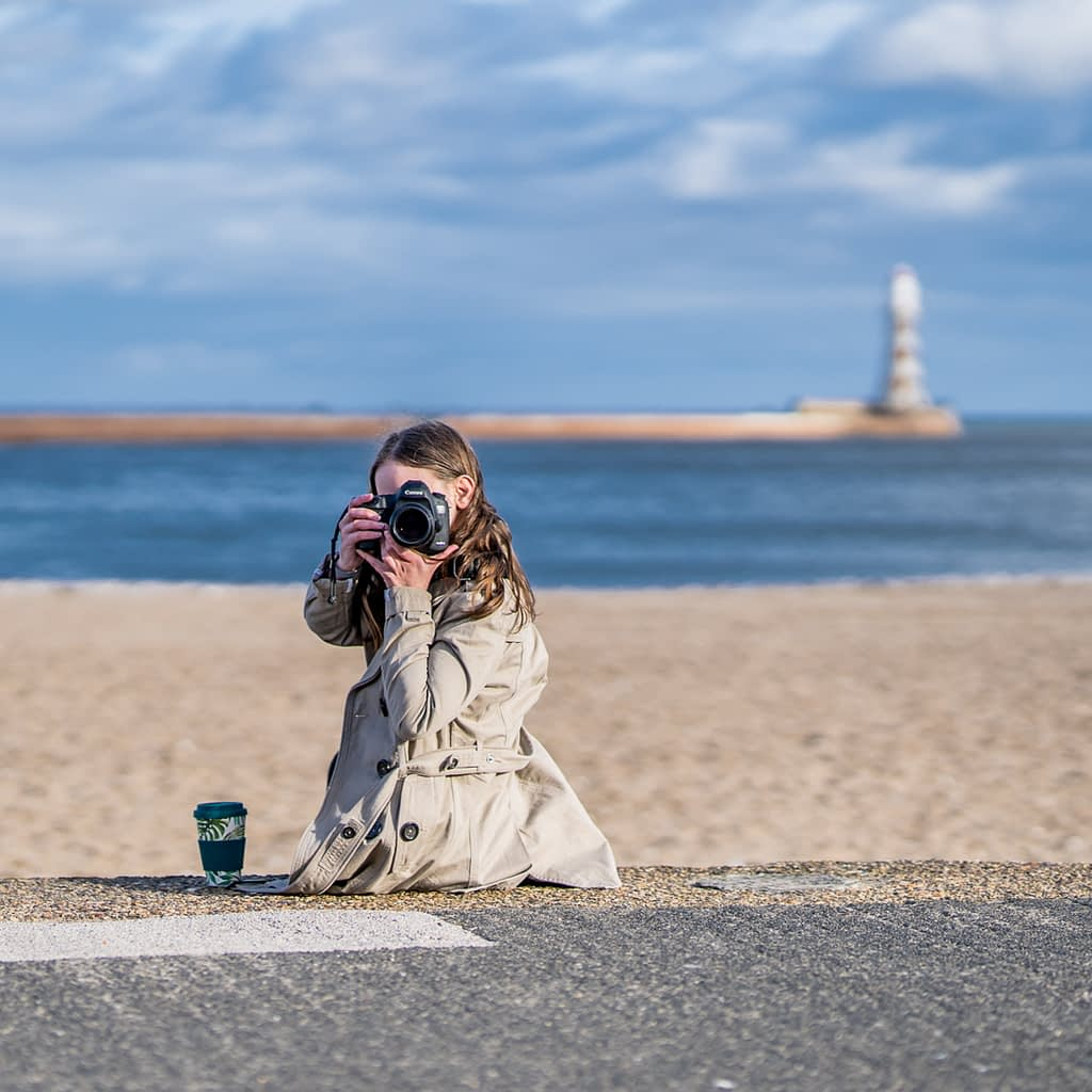 Catherine Tuckwell Personal Brand Photography session Roker Sunderland. Eco-friendly