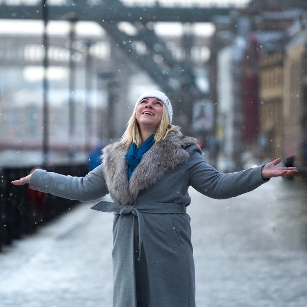 Catherine Tuckwell Personal Brand Photography session in Newcastle with snowfall