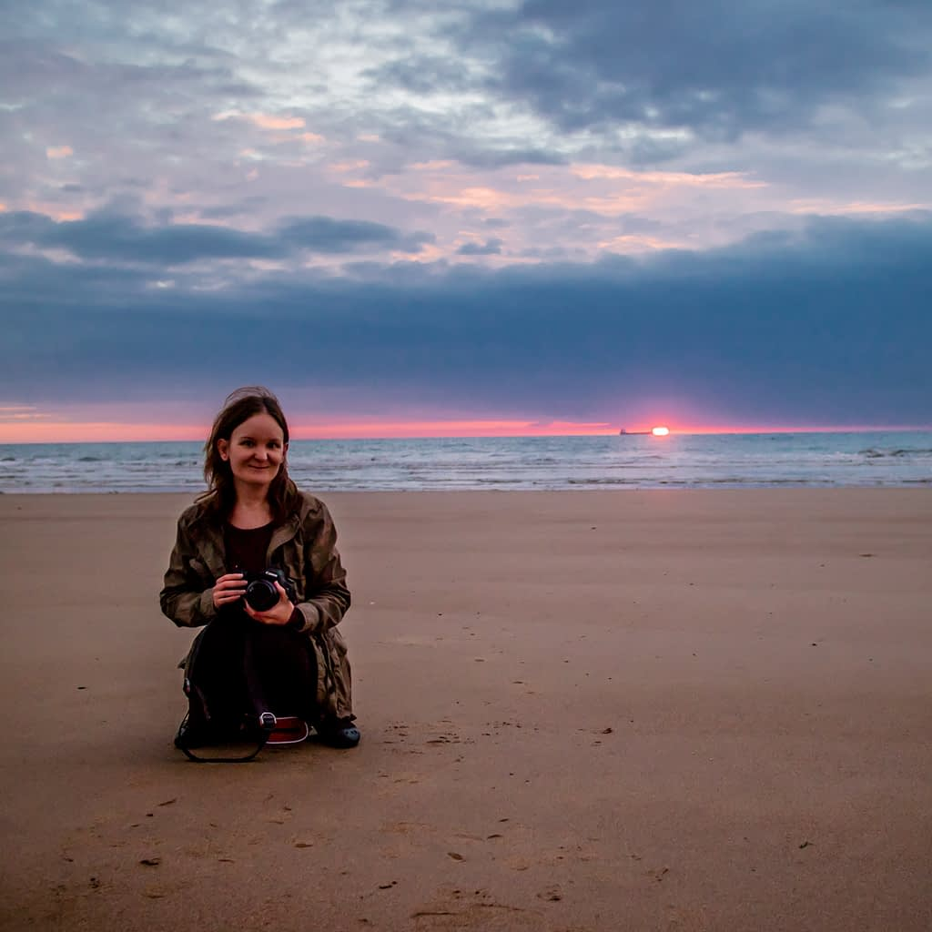 Catherine Tuckwell Personal Brand Photography eco-friendly photographer outdoors on Roker beach in Sunderland at sunrise